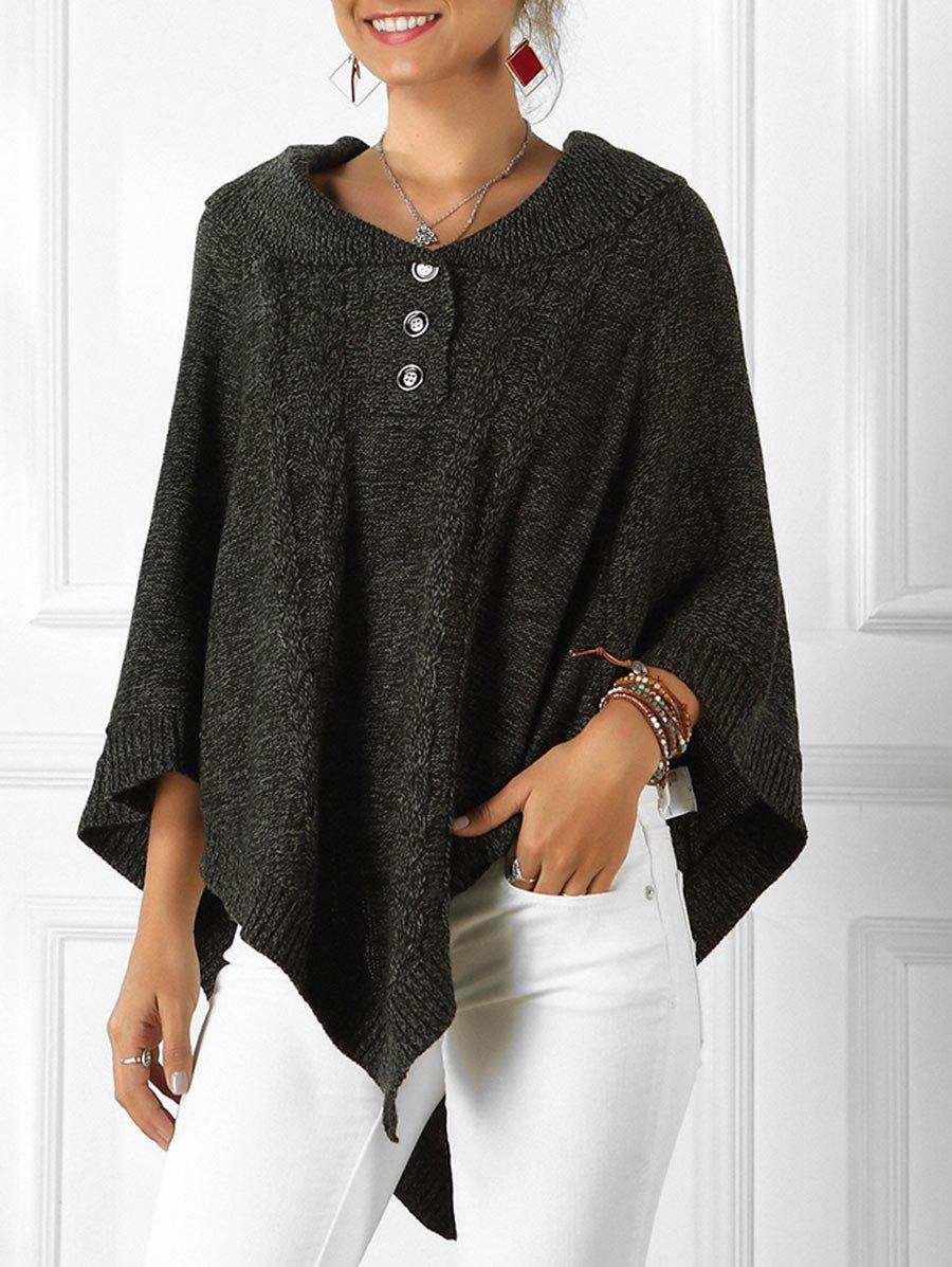 Cable Knit Heathered Poncho Sweater - BLACK XL