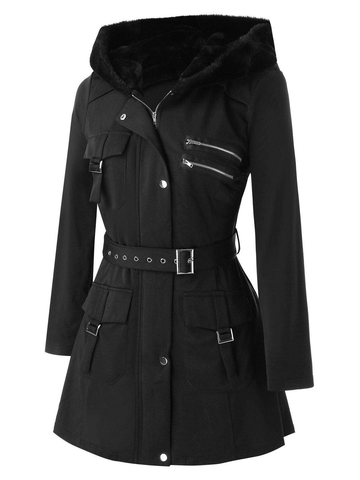Plus Size Pockets Buckles Zippered Coat - BLACK 4X
