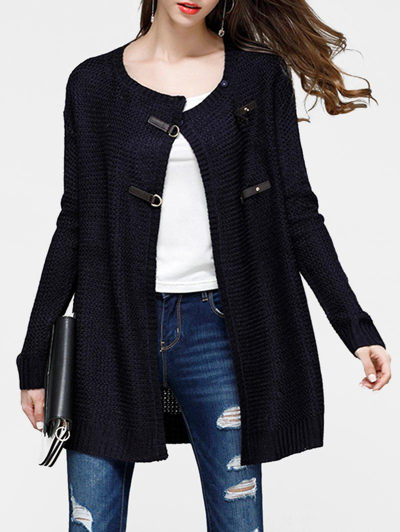 Faux Leather Buckled Cardigan - BLACK M
