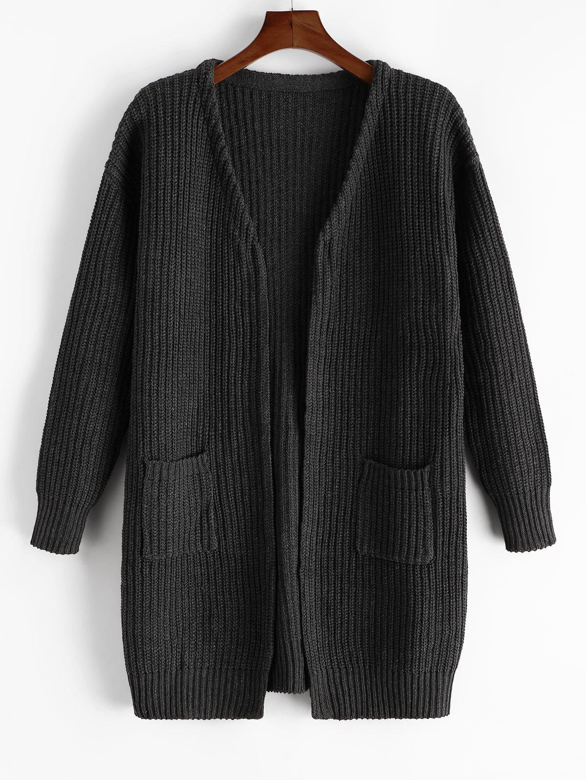 Open Front Pockets Rib Knit Cardigan - CARBON FIBER BLACK M