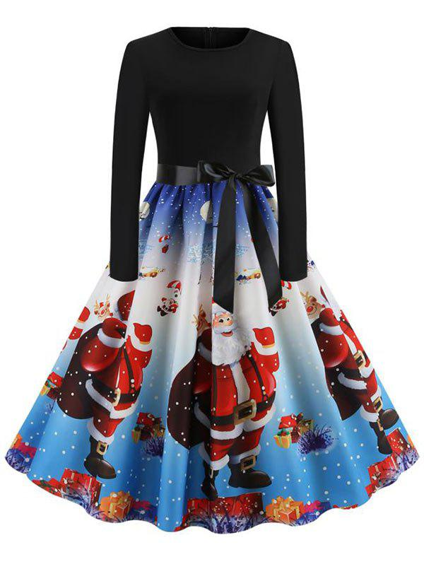 Christmas Belted Party Dress - multicolor A M