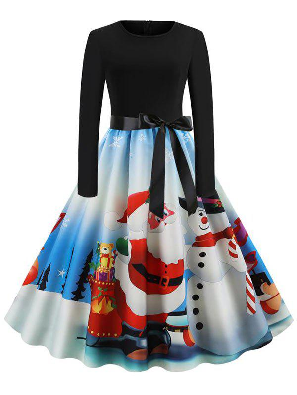 Christmas Belted Party Dress - multicolor E L