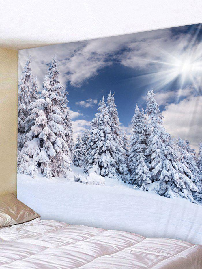 Snow Forest Sunshine Pattern Tapestry - BLUE GRAY W59 X L51 INCH