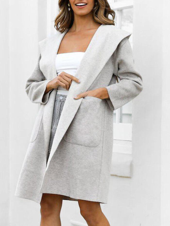 Dual Pockets Solid Hooded Coat - GRAY CLOUD M