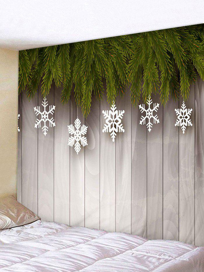 Christmas Snowflake Wooden Board Print Tapestry Wall Hanging Art Decoration - multicolor W59 X L59 INCH