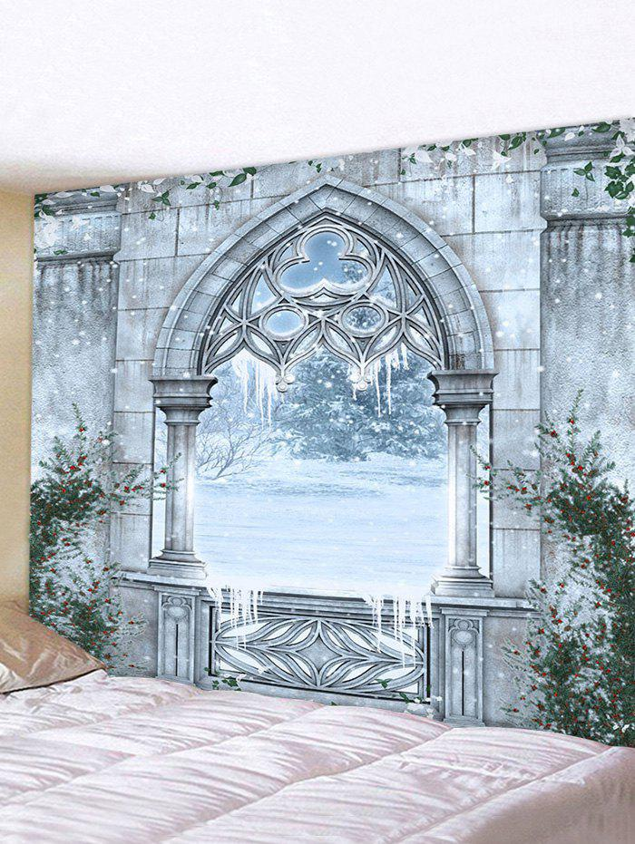 Castle Window Snow Print Tapestry Wall Hanging Art Decoration - multicolor W71 X L71 INCH