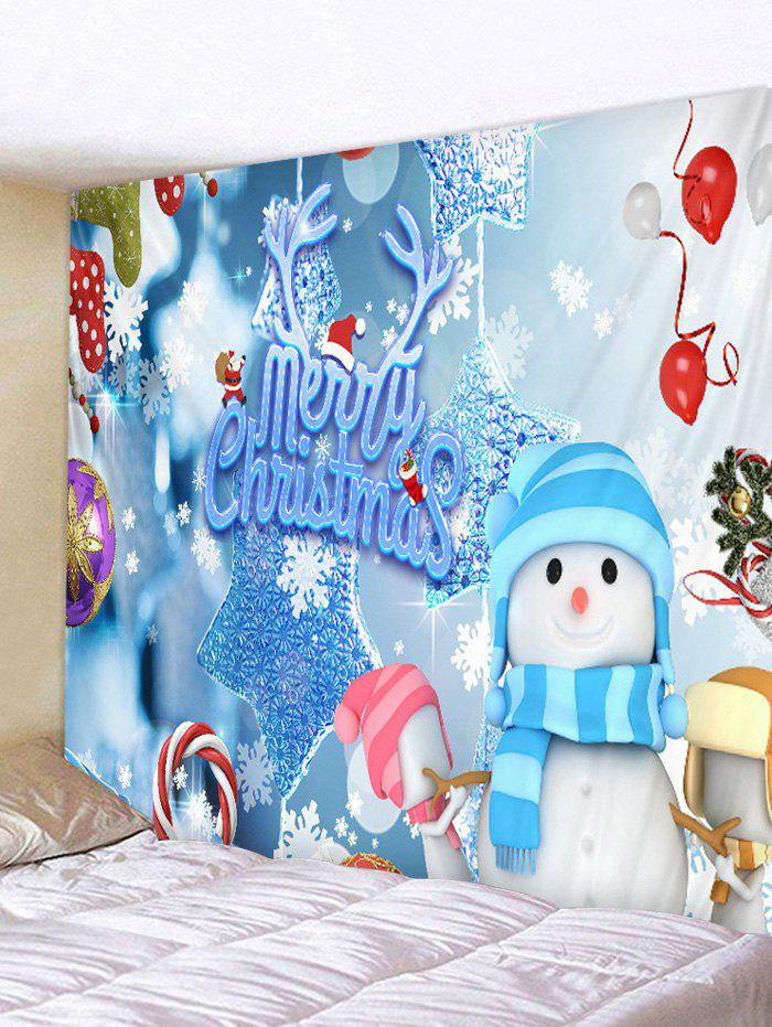 Christmas Snowman Elements Print Tapestry Wall Hanging Art Decoration - multicolor C W59 X L51 INCH