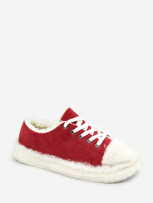 Plush Lace Up Low Top Casual Shoes - CHESTNUT RED EU 36
