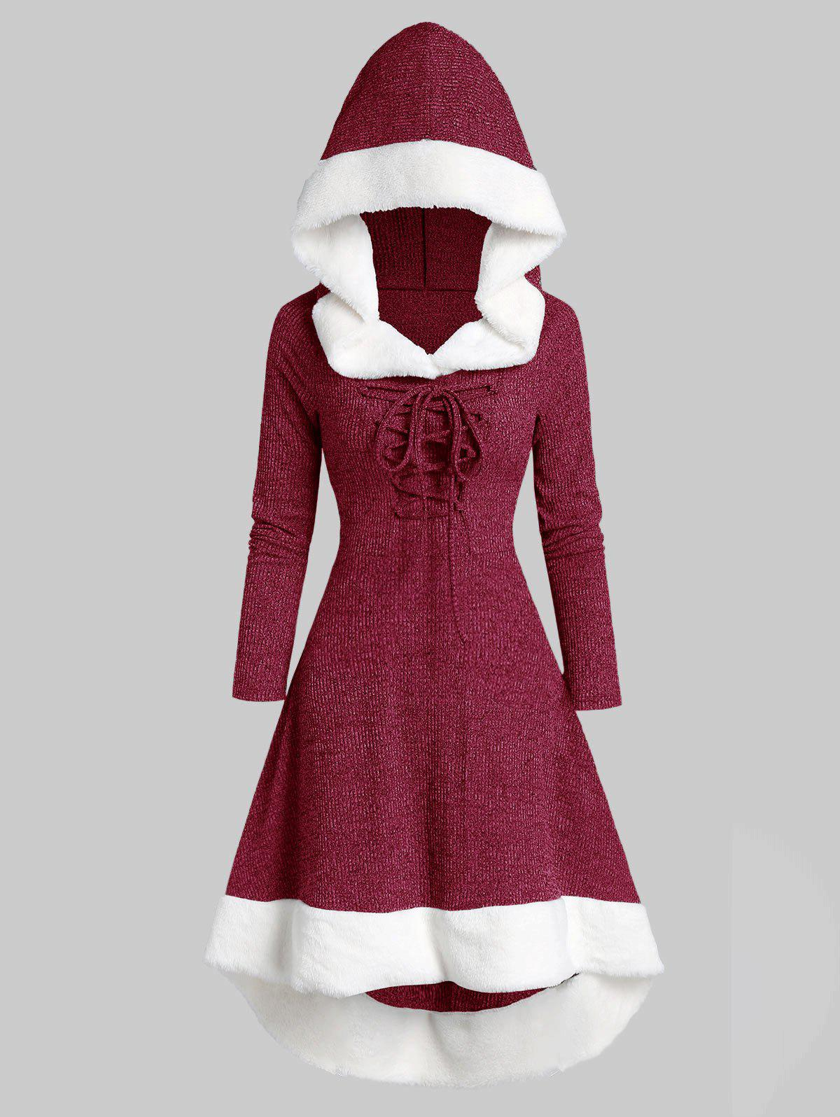 Hooded Lace Up Faux Fur Panel Marled Asymmetrical Dress - RED WINE XL