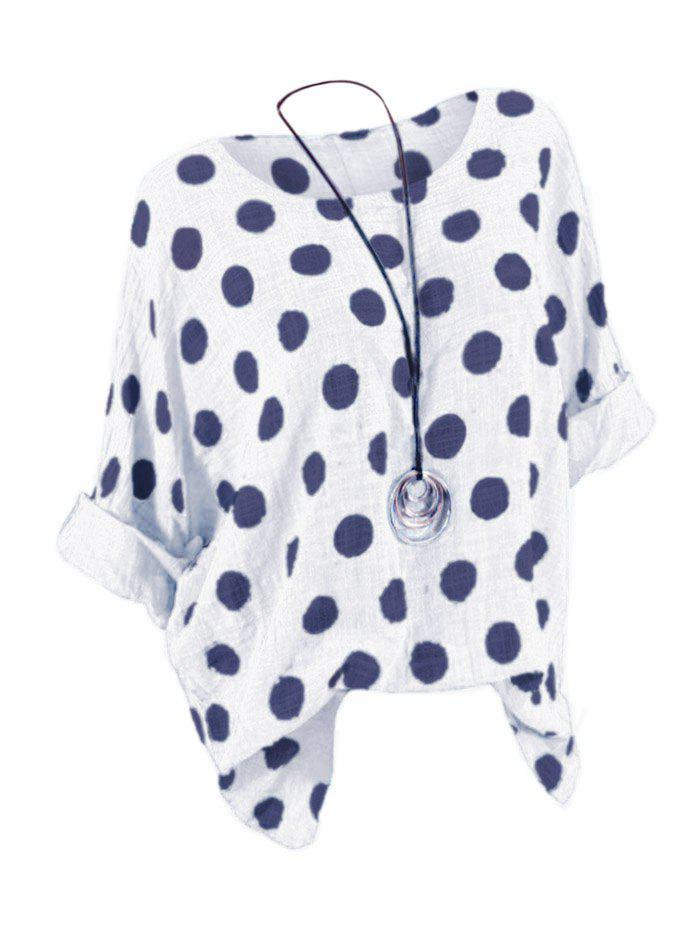 Plus Size Batwing Sleeve Polka Dot Top - WHITE 4X