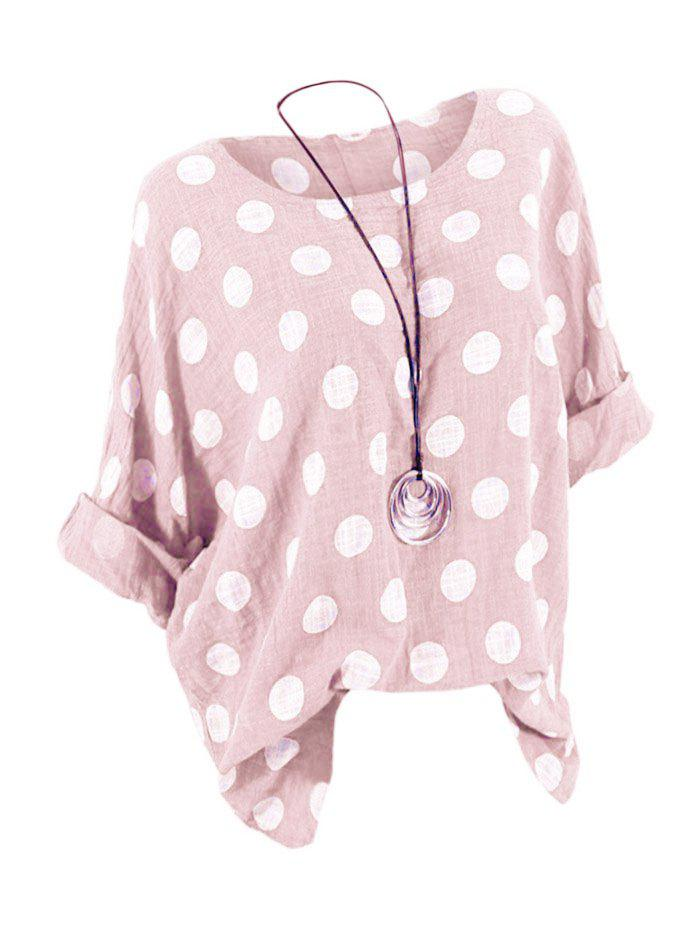 Plus Size Batwing Sleeve Polka Dot Top - LIGHT PINK 1X