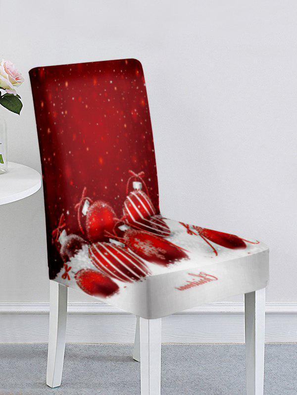 Christmas Santa Claus Elk Snowflake Ball Print Chair Cover - multicolor A