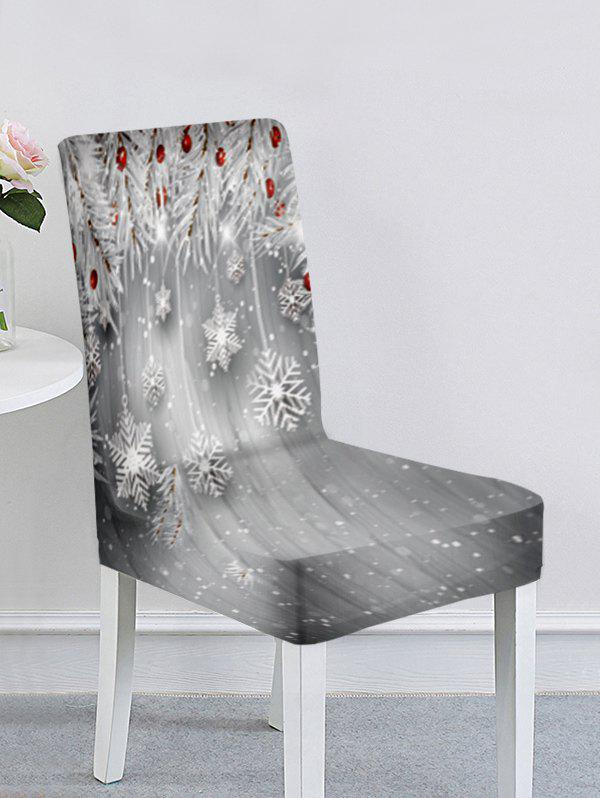 Christmas Santa Claus Elk Snowflake Ball Print Chair Cover - multicolor F