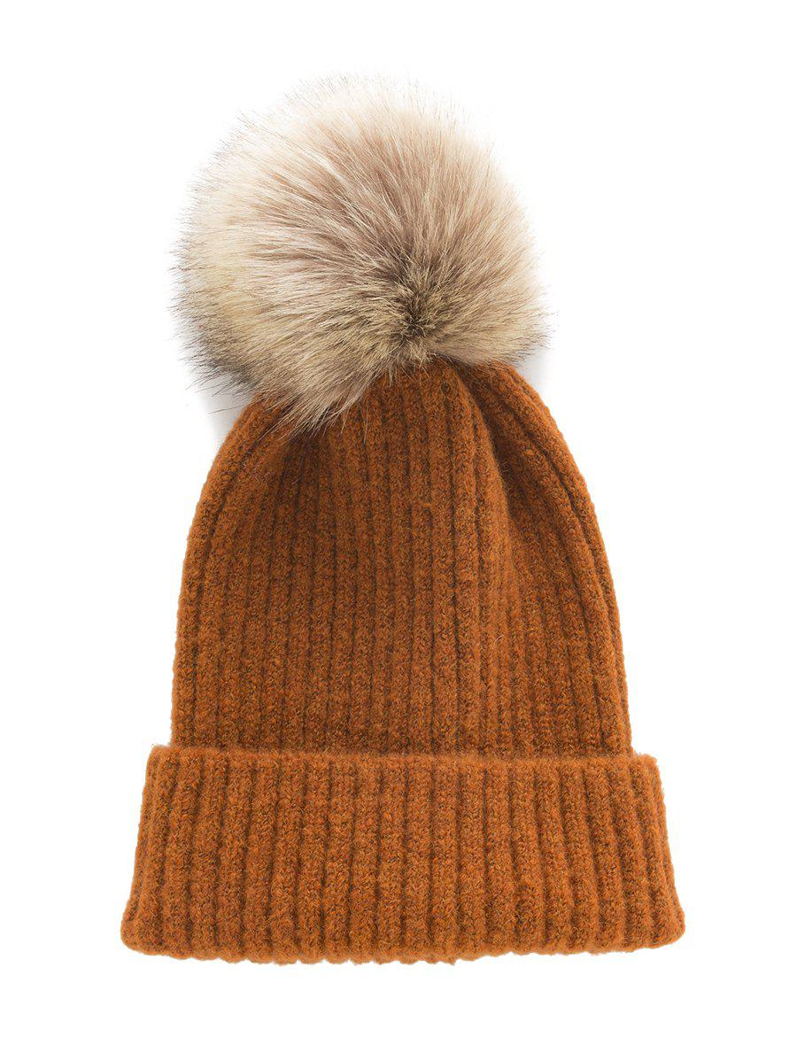 Fuzzy Ball Decorate Knitted Hat - LIGHT BROWN