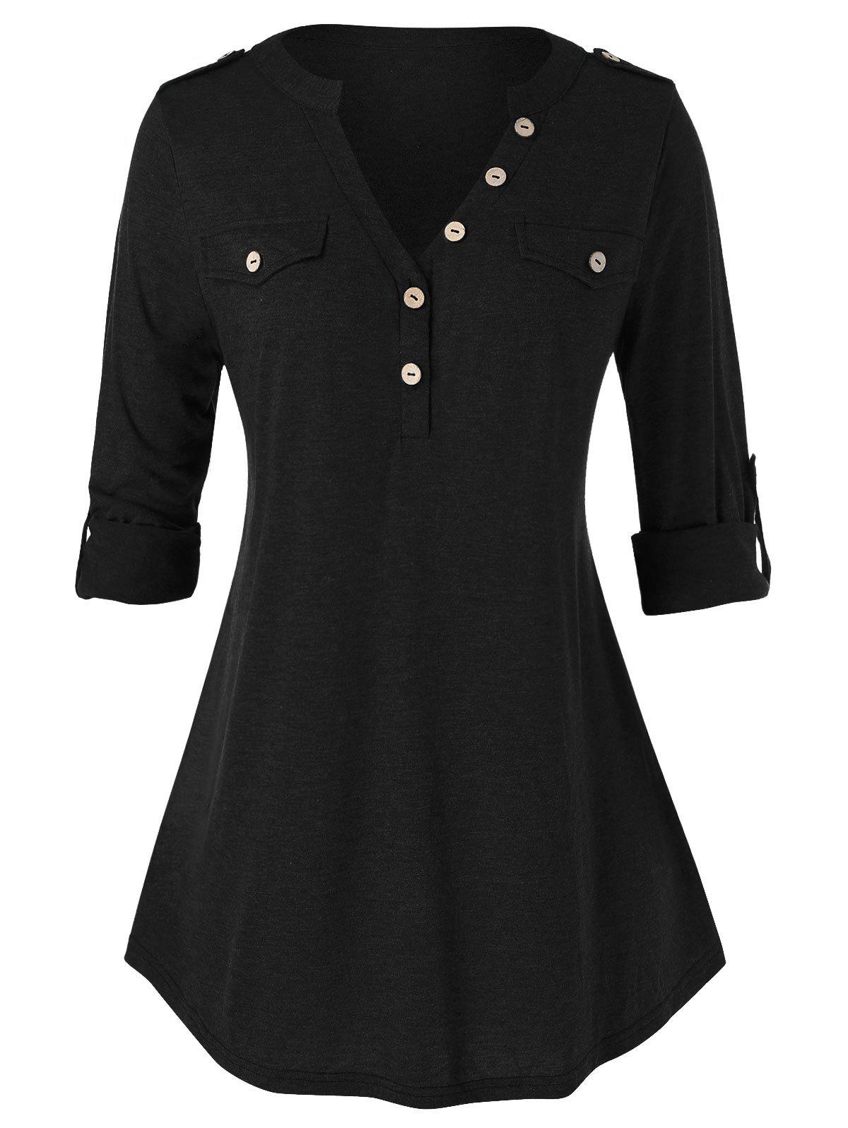 Plus Size Roll Up Sleeve Buttons T Shirt - BLACK L