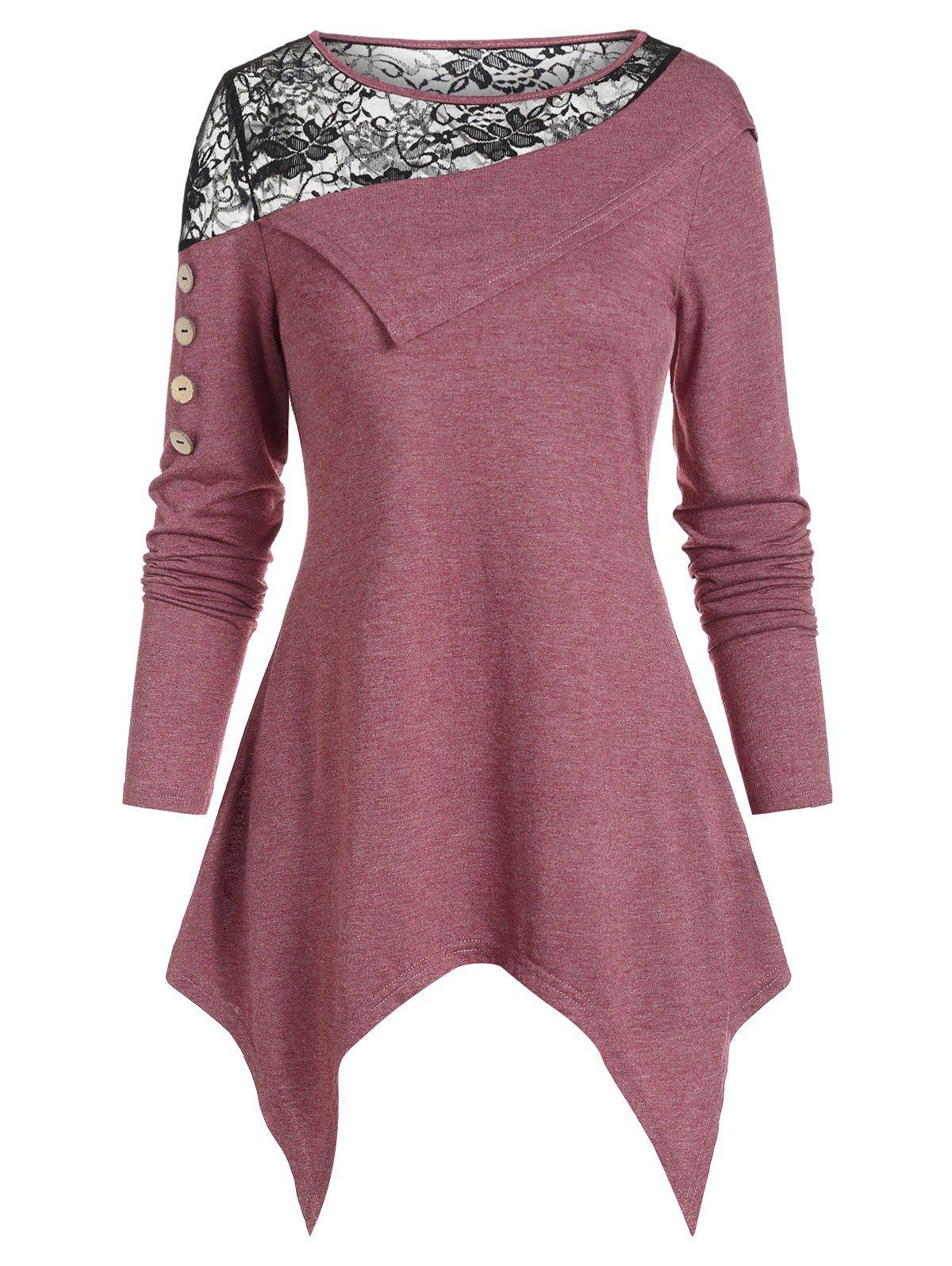 Lace Insert Asymmetric Hem Long Sleeve T Shirt - FIREBRICK XL