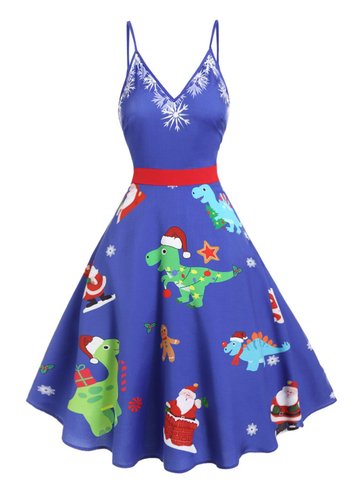 Christmas Dinosaur Print Cami Midi Dress - CRYSTAL BLUE M