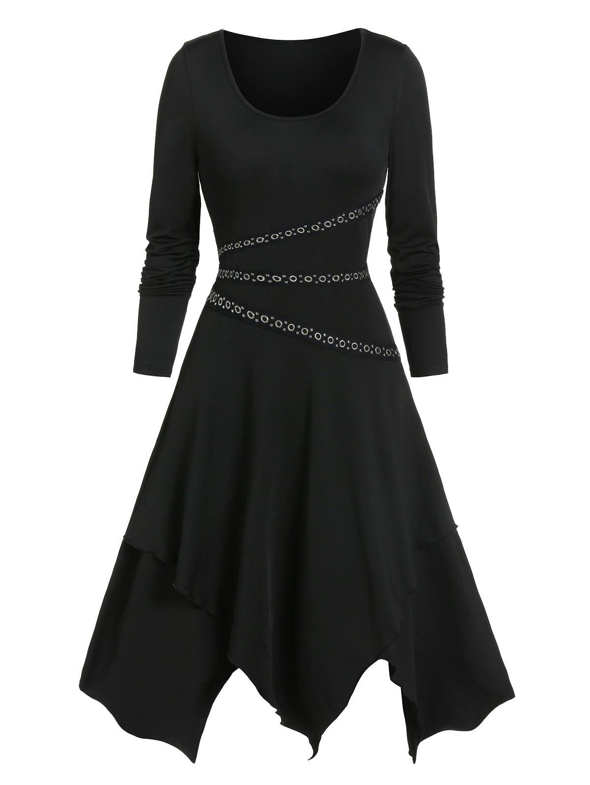 Grommet Strap Long Sleeve Asymmetric Dress - BLACK M