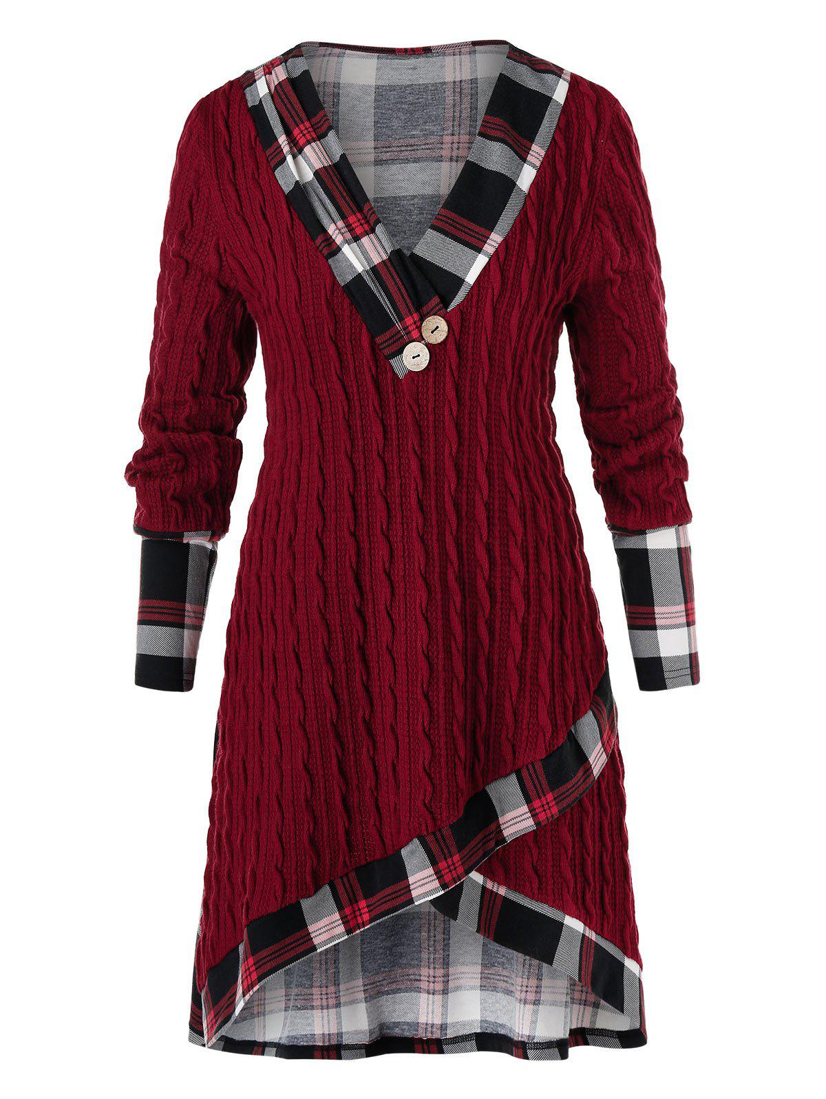 Plus Size Plaid Cable Knit Tulip Sweater - RED WINE 3X