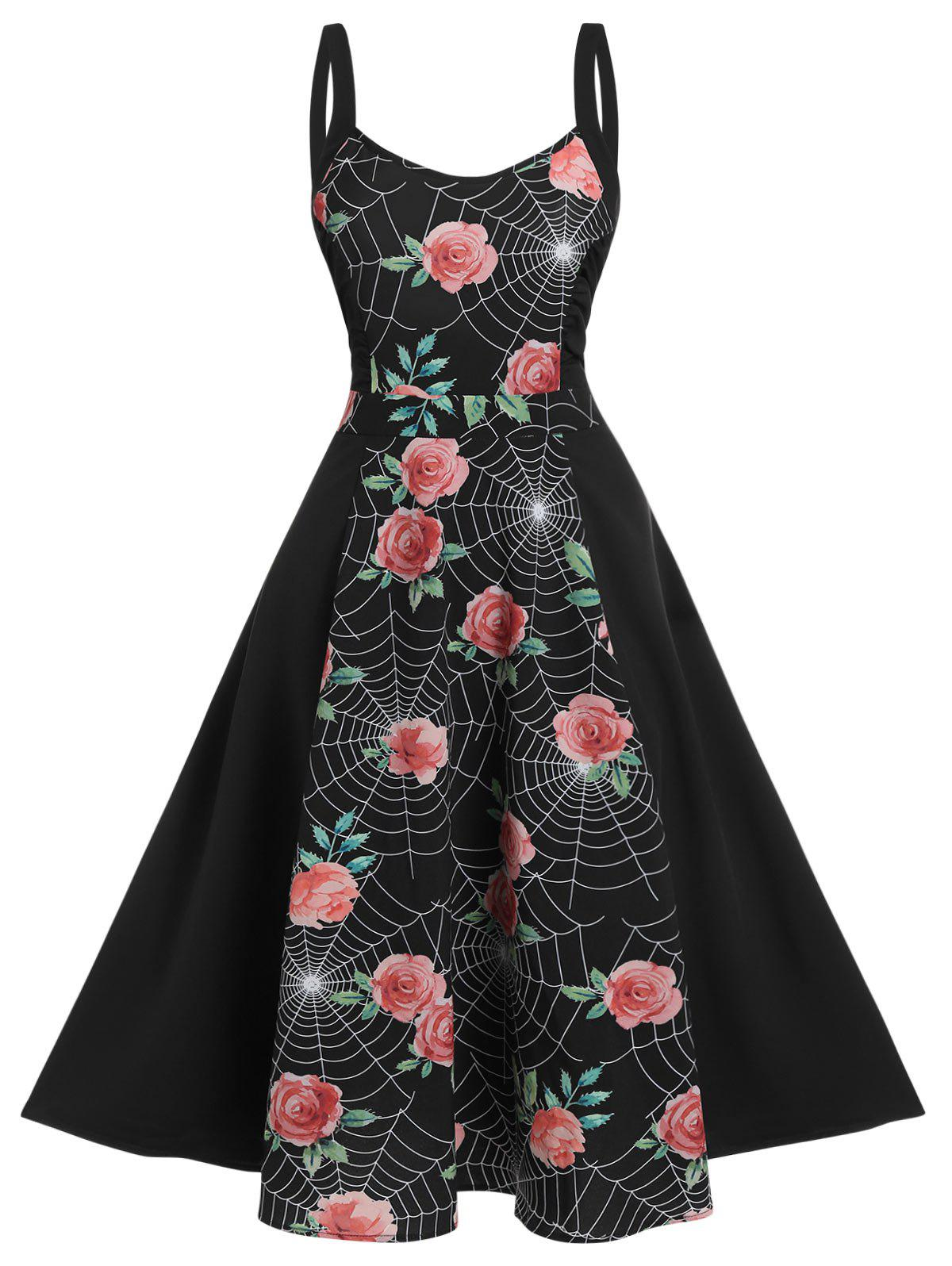 Floral Spider Web Print High Waist Cami Dress - BLACK M