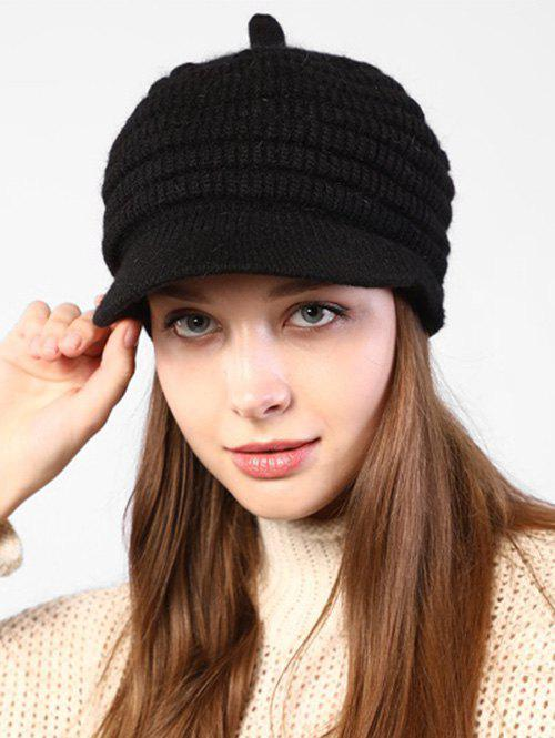 Knitted Winter Soft Beret Peaked Hat - BLACK