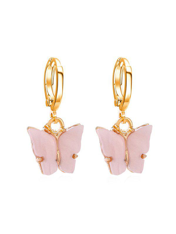 Acrylic Butterfly Small Hoop Drop Earrings - PIG PINK