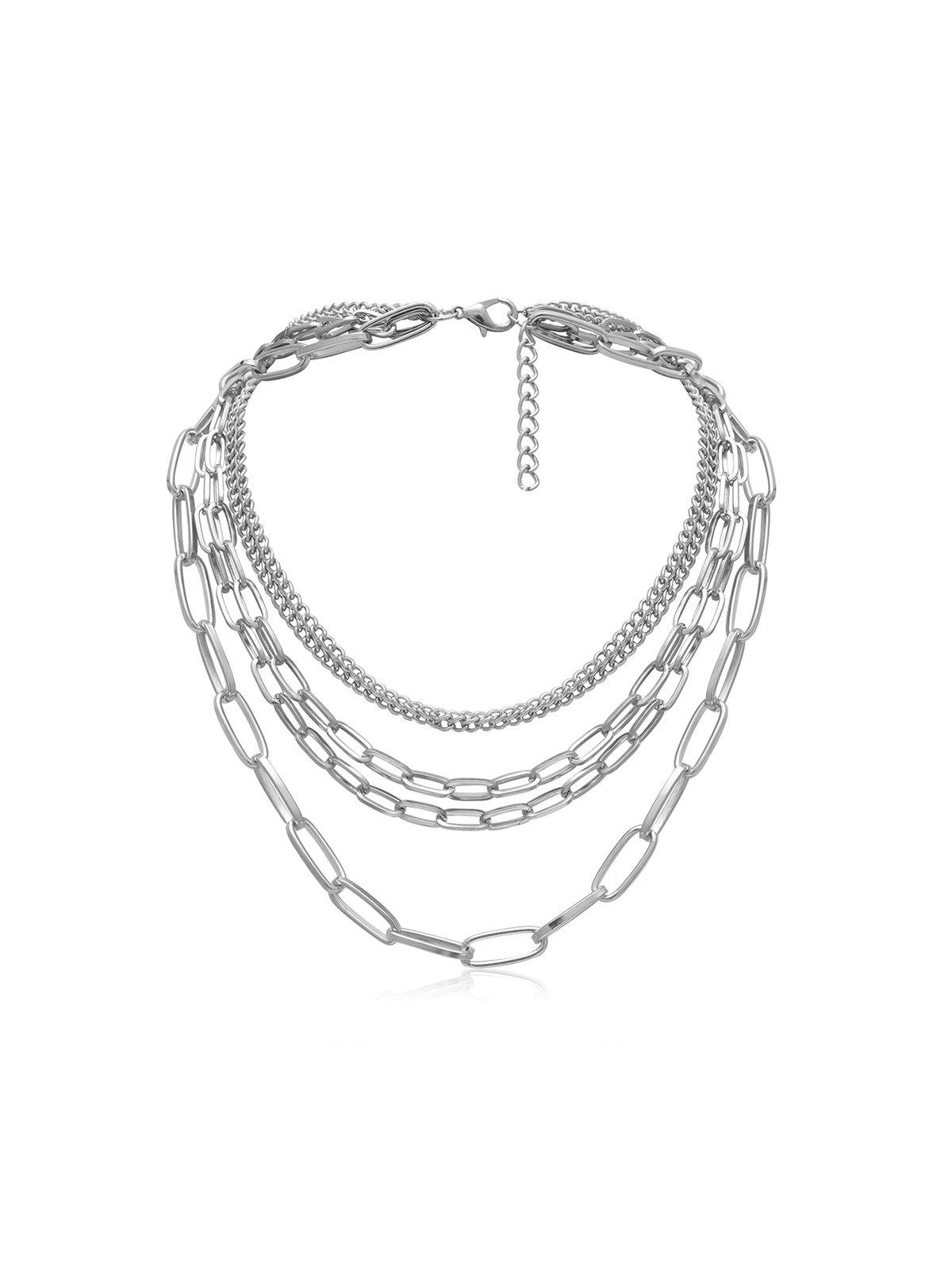 Brief Multilayered Link Chain Necklace - SILVER