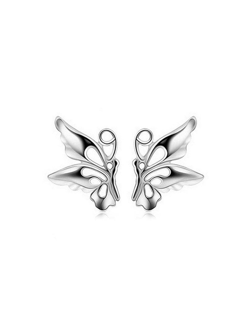Butterfly Hollowed Stud Earrings - SILVER
