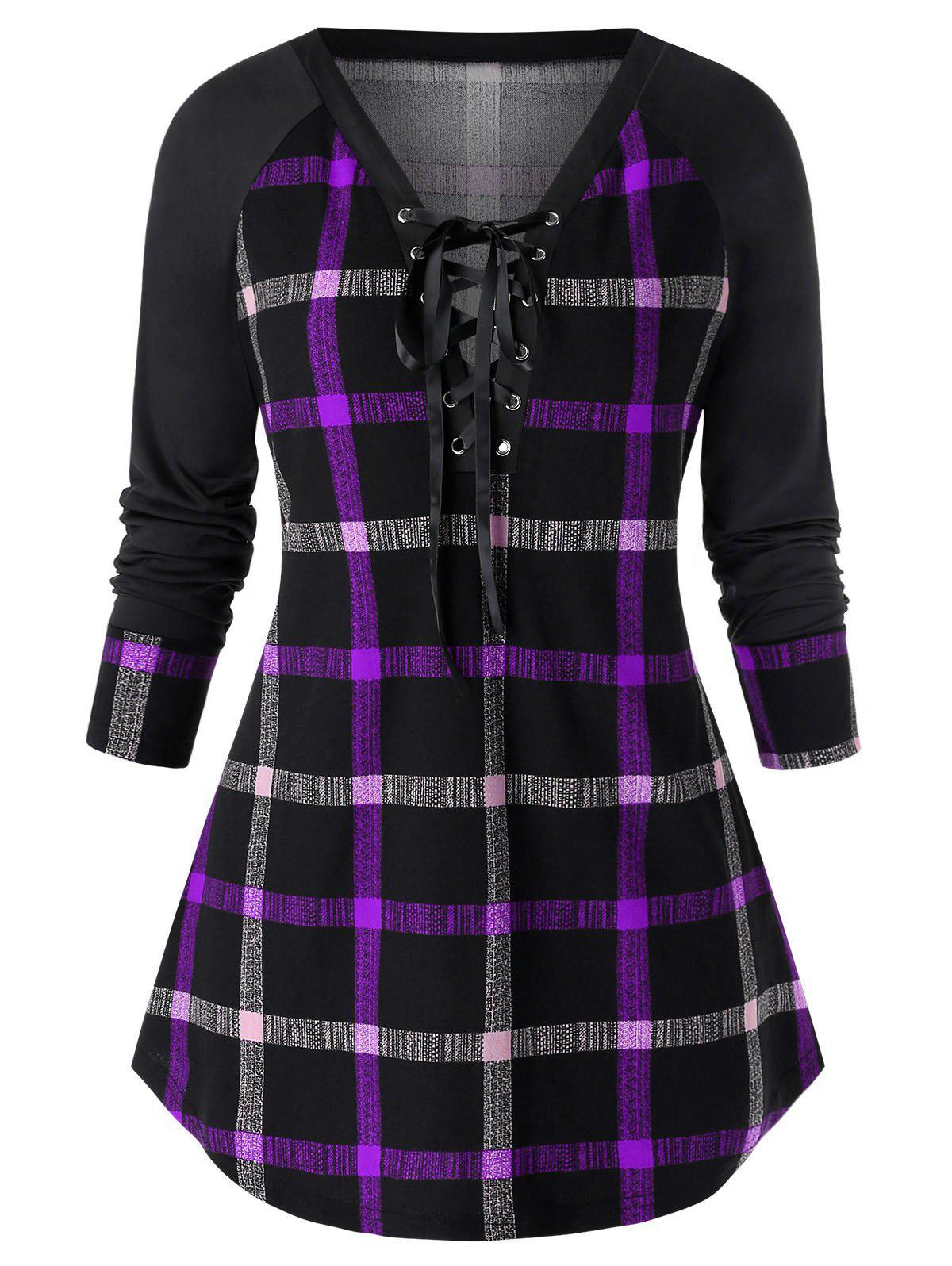 Plus Size Lace Up Plunge Plaid Sweatshirt - PURPLE 2X
