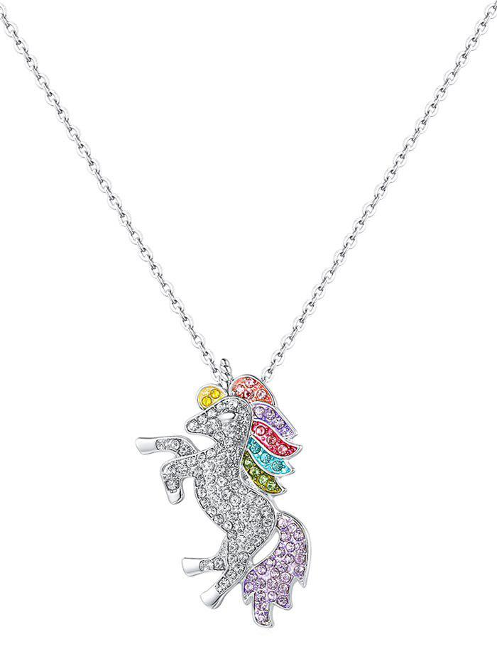 Rhinestone Unicorn Shape Necklace - SILVER
