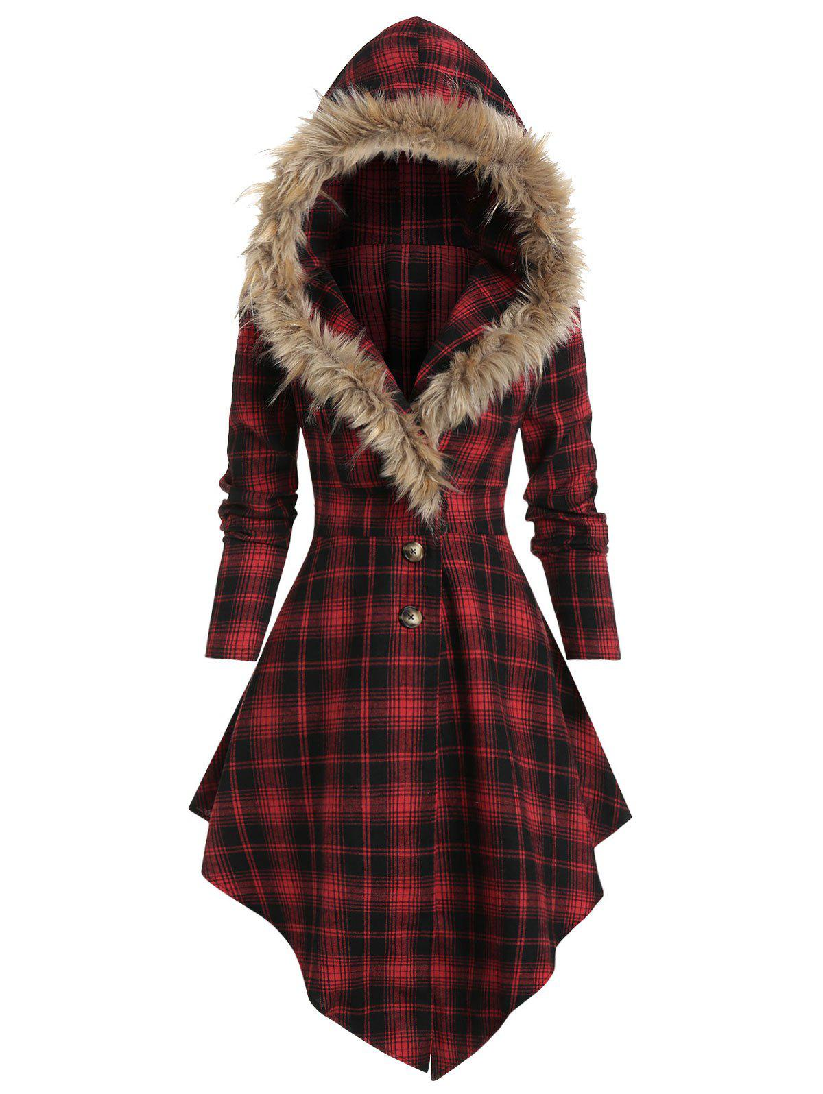 Faux Fur Hooded Plaid Print Lace-up Skirted Coat - RED XL