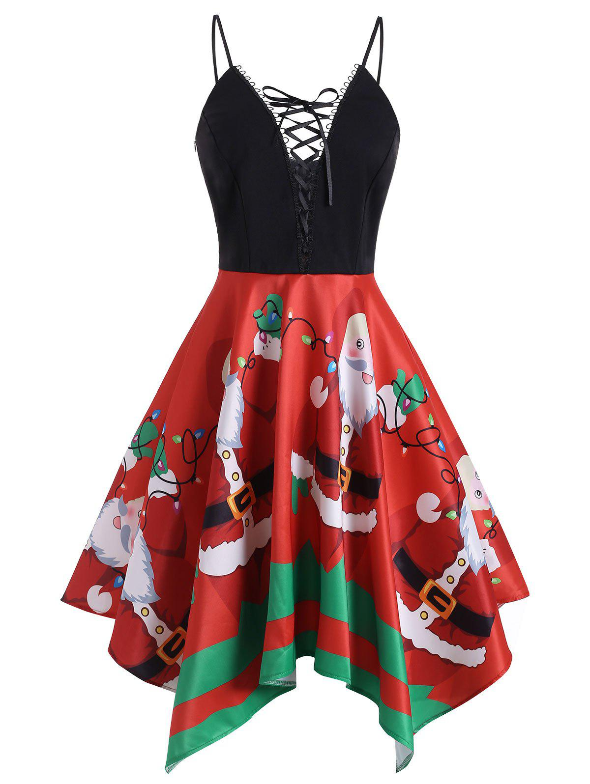 Christmas Santa Claus Lace Up Handkerchief Dress - multicolor M