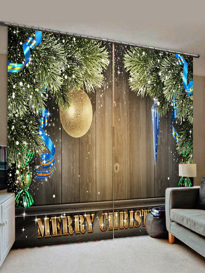 2 Panels Christmas Tree Ball Wood Board Print Window Curtains - CAMEL BROWN W30 X L65 INCH X 2PCS