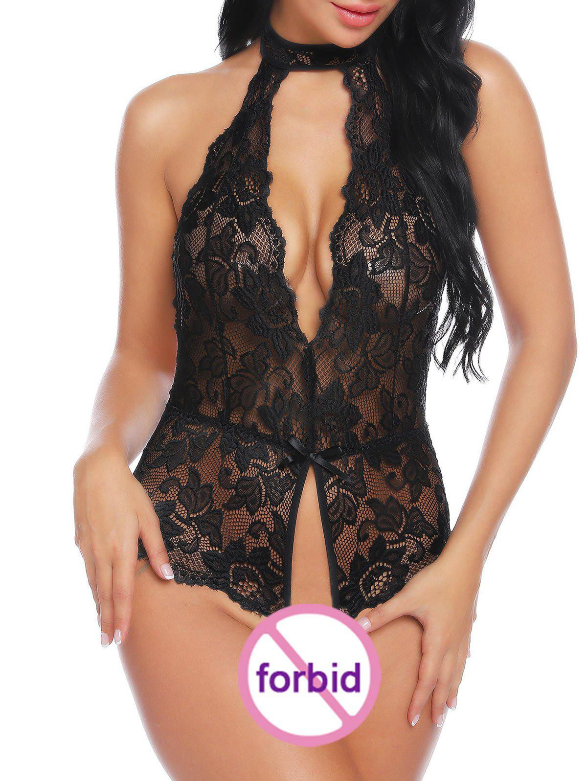 Backless Ouvrir Crotch Sheer Lace Teddy - Noir S