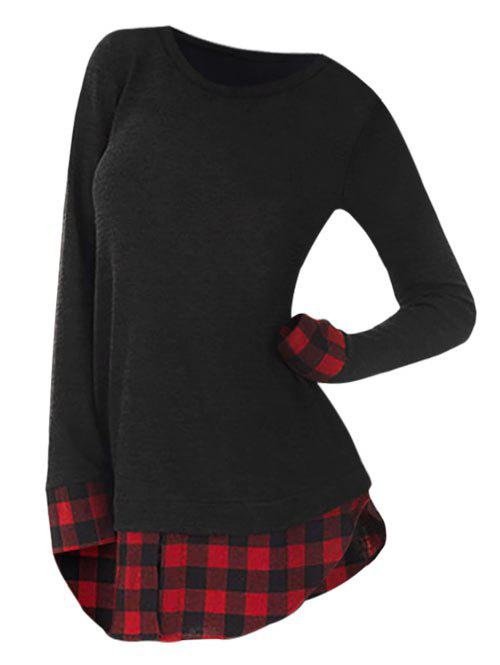 Plus Size Slit Plaid Panel Longline T-shirt - RED 1X