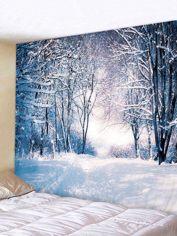 Christmas Snow Forest 3D Print Wall Tapestry - DENIM BLUE W79 X L71 INCH
