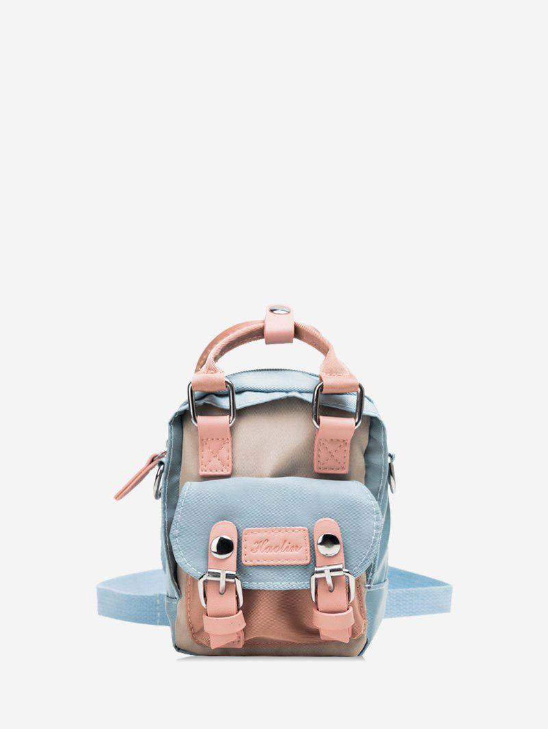 Solid Color Buckle Decoration Casual Backpack - CRYSTAL BLUE