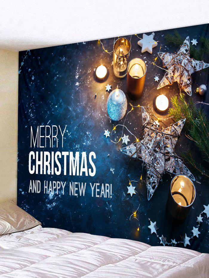 Merry Christmas Star Pattern Tapestry - multicolor W59 X L79 INCH