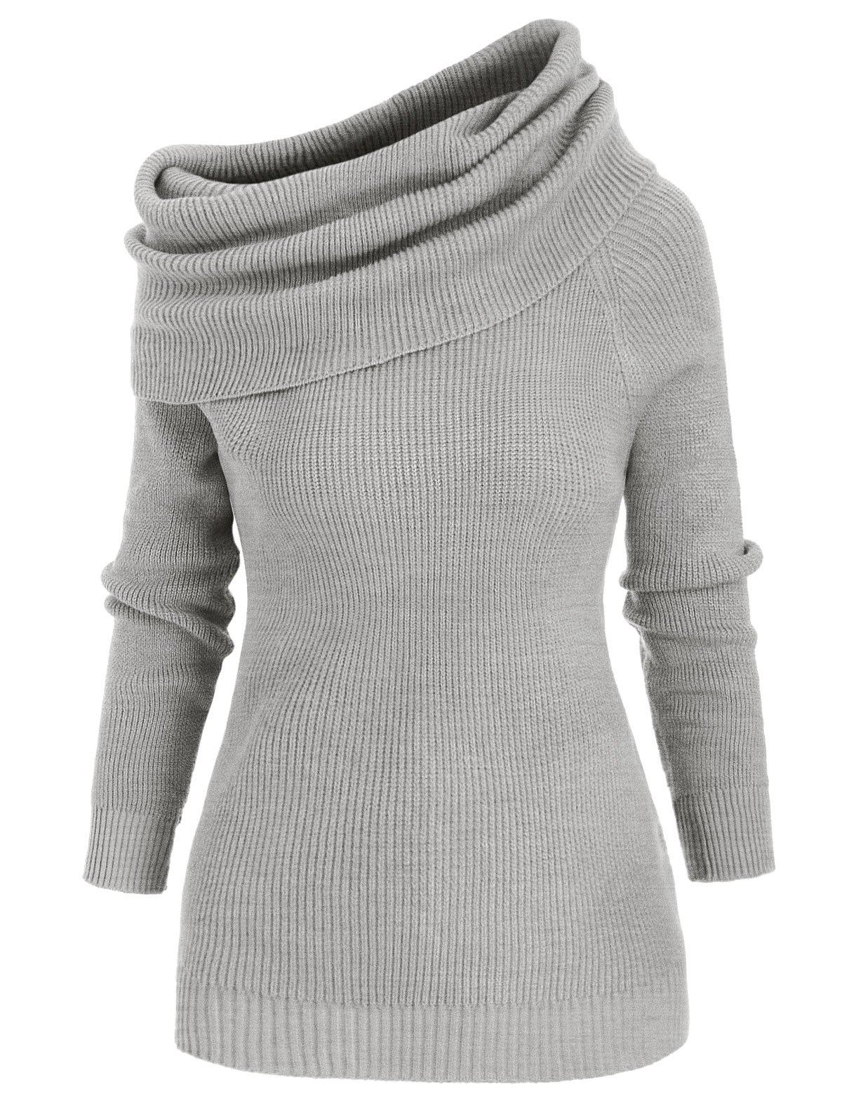 Convertible Foldover Plain Jumper Sweater - GRAY XL