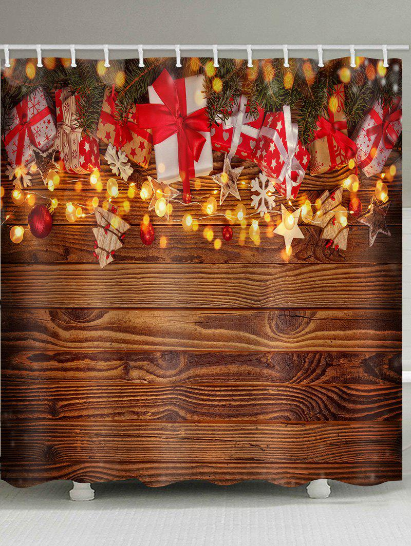 Christmas Gift Wooden Waterproof Bath Curtain - multicolor W71 X L71 INCH
