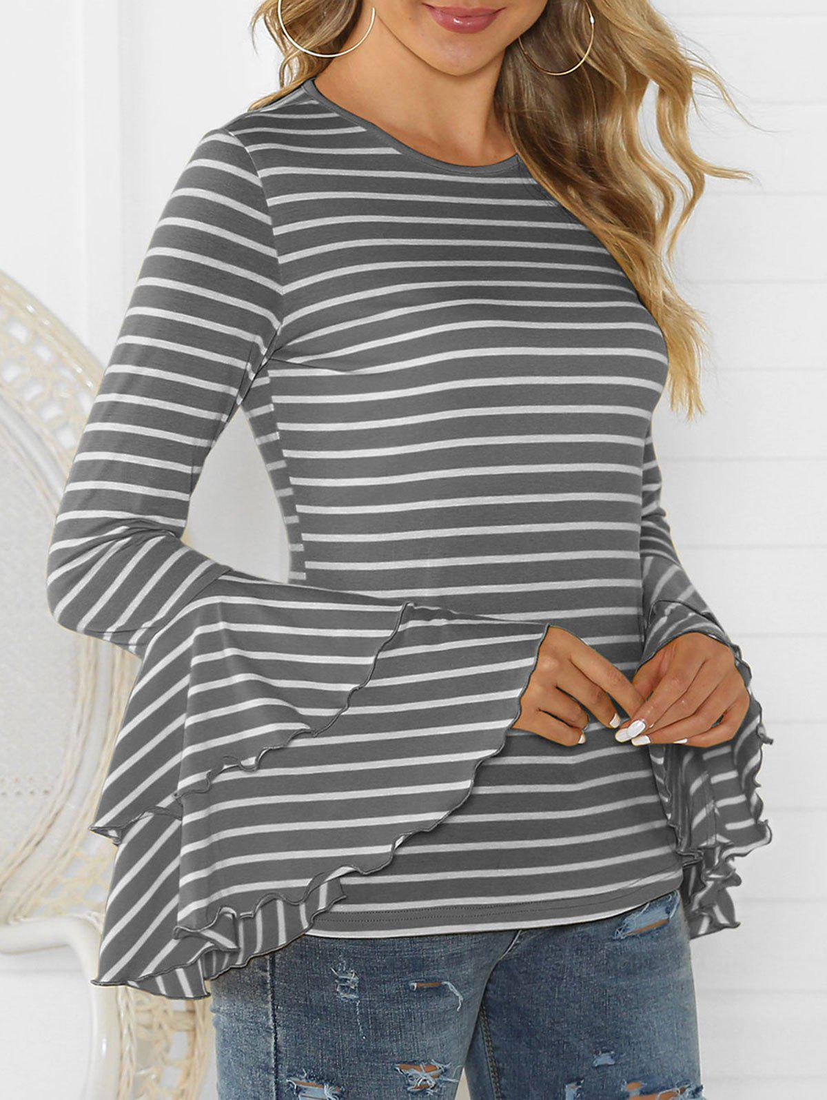 Striped Layered Flare Sleeve Tee - GRAY M