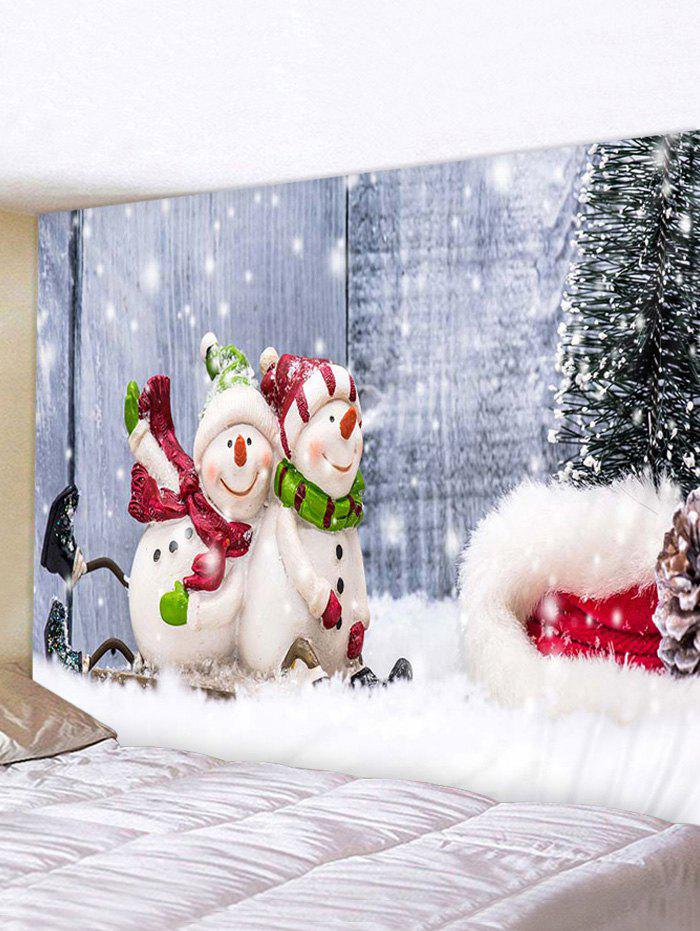 Christmas Tree Snowman Couple Print Tapestry Wall Hanging Art Decoration - multicolor W59 X L51 INCH