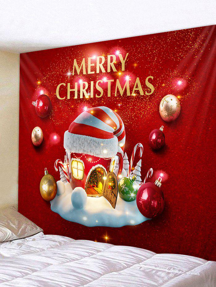 Christmas Hat House Ball Print Tapestry Wall Hanging Art Decoration - multicolor W91 X L71 INCH