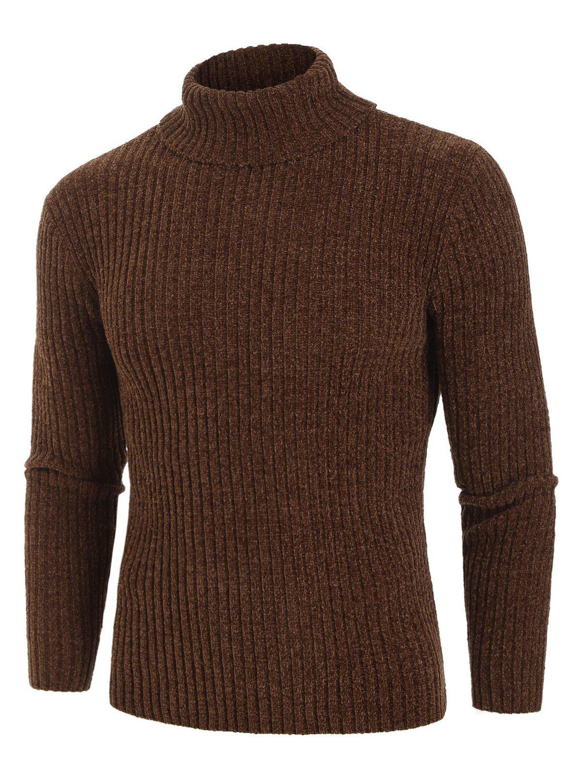 Plain Turtleneck Chenille Long Sleeve Sweater - BROWN M