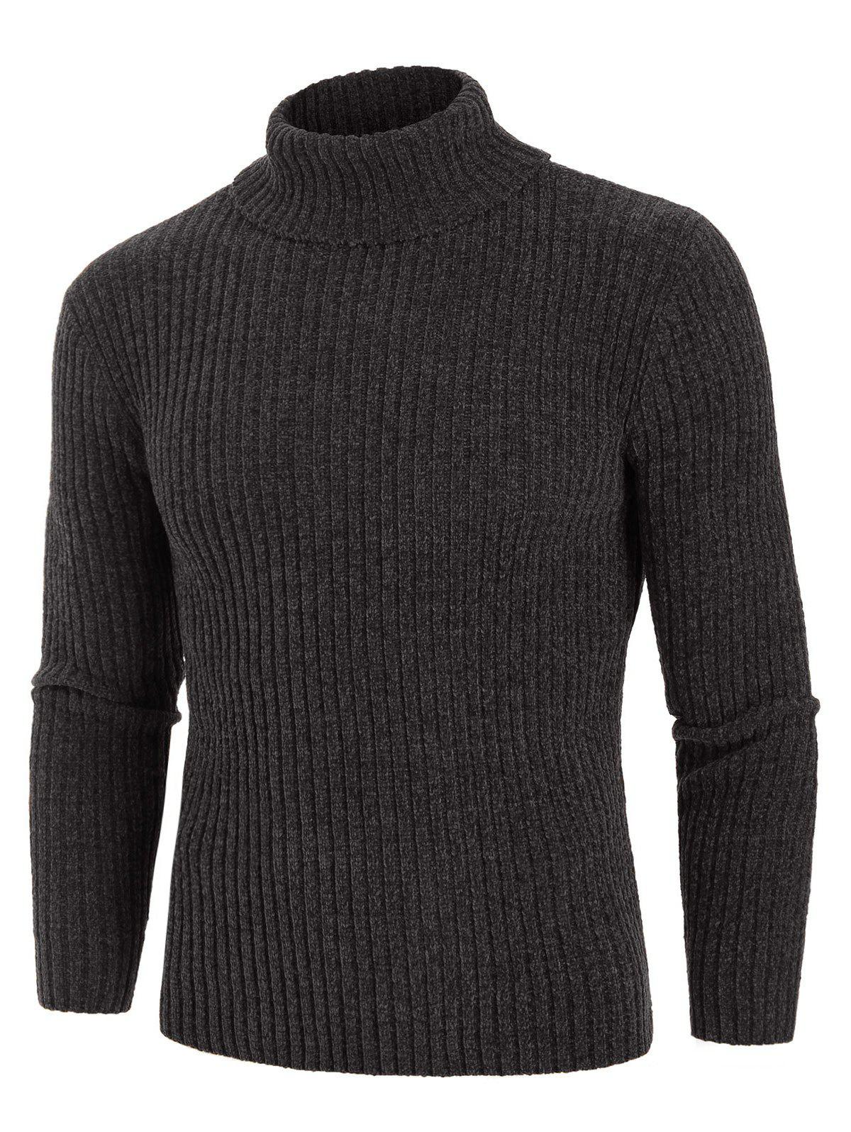 Plain Turtleneck Chenille Long Sleeve Sweater - DARK GRAY M