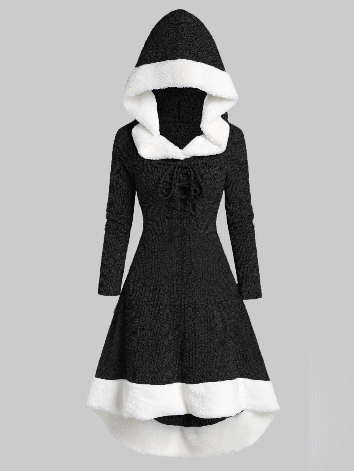 Hooded Lace Up Faux Fur Panel Marled Asymmetrical Dress - NIGHT 2XL