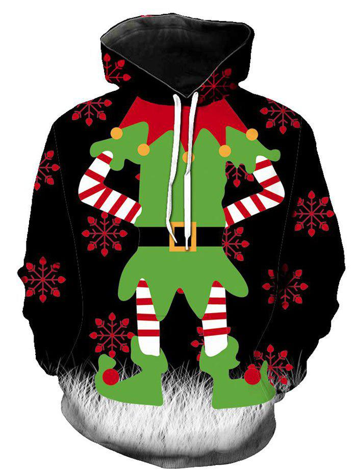 Christmas Elf Graphic Front Pocket Drawstring Hoodie - multicolor XS
