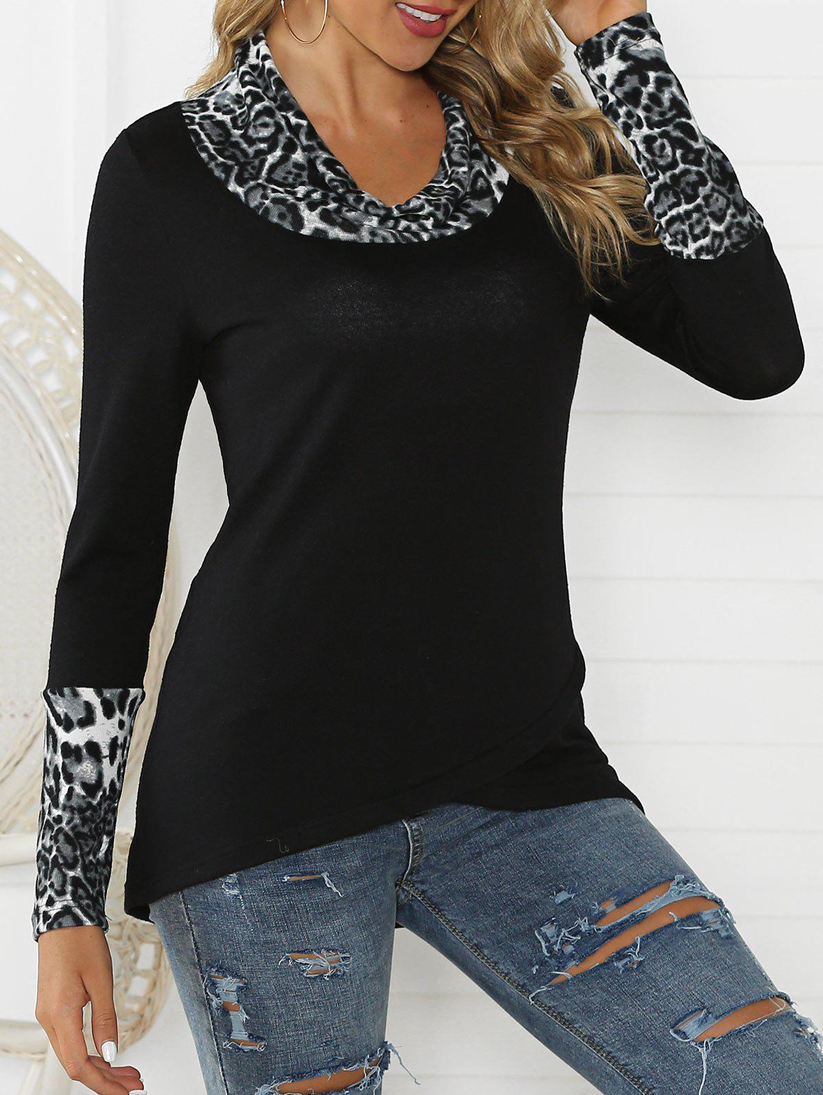Leopard Panel Curved Cowl Neck Tunic Knitwear - BLACK XL