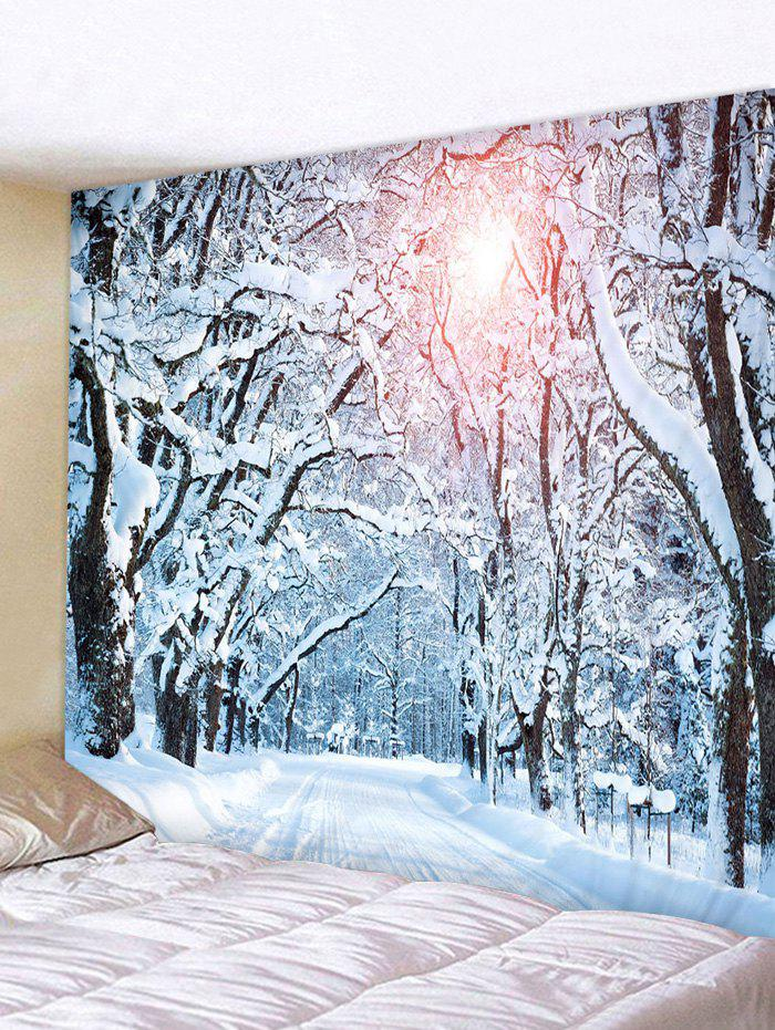 Snow Forest Road Printed Tapestry Wall Hanging Art Decoration - multicolor W59 X L59 INCH