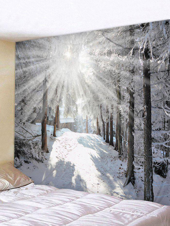 Sunshine Snow Forest Printed Tapestry Wall Hanging Art Decoration - multicolor W91 X L71 INCH